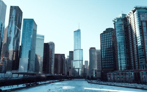 Фото обои зима, река, лёд, небоскребы, Чикаго, USA, Chicago