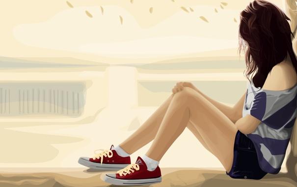 Фото обои грусть, девушка, поза, настроение, волосы, шорты, вектор