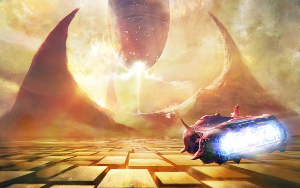 Фото обои корабль, планета, the emperor s arrival