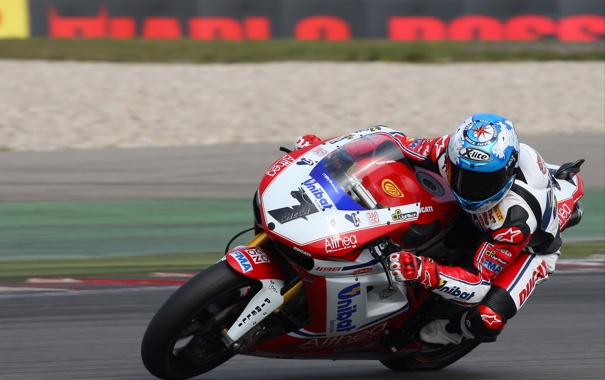 Фото обои Поворот, Гонка, Мотоцикл, Ducati, WSBK, Тарсса, Карлос Чека