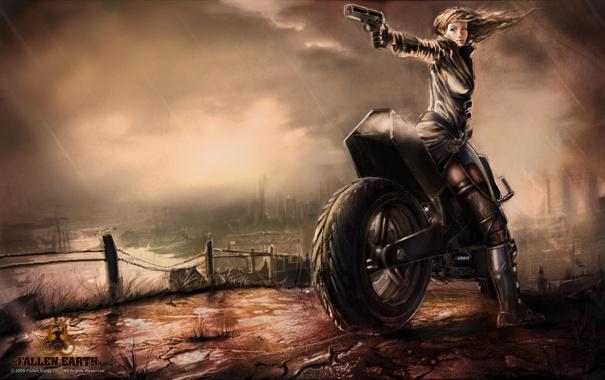 Фото обои девушка, игра, мотоцикл, Fallen Earth, сумерки. дождь