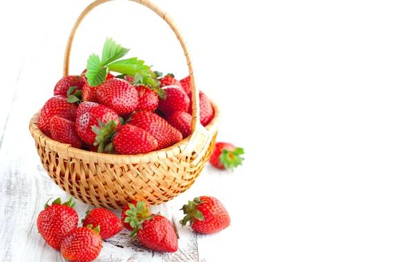 Фото обои ягоды, клубника, red, корзинка, красная, fresh, спелая