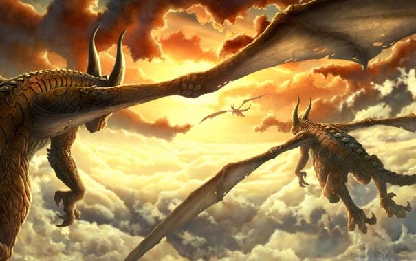 Фото обои солнце, облака, закат, крылья, драконы