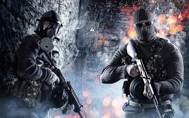 Фото обои оружие, маска, очки, автомат, противогаз, Battlefield 3, Поле Битвы 3