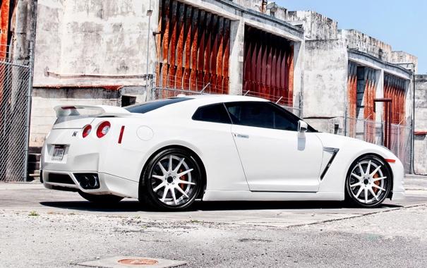 Фото обои тачки, nissan, белая, cars, ниссан, gtr, auto wallpapers