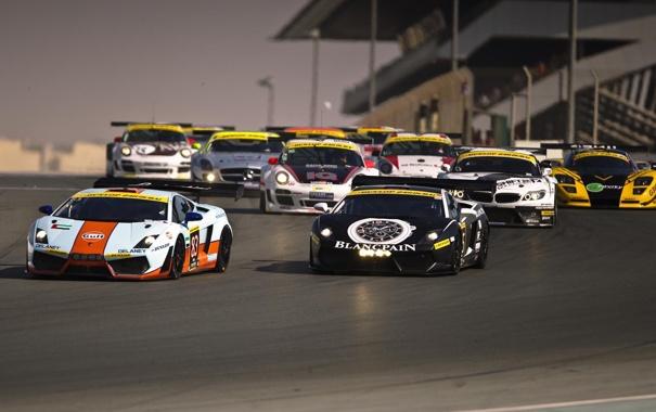 Фото обои Porsche 911, BMW Z4, Race start, Mercedes SLS 500, Dubai 24 Hours, Lamborgini Gallardo