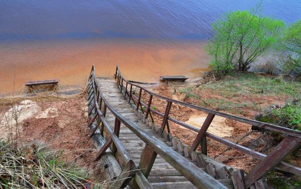 Фото обои природа, река, лестница