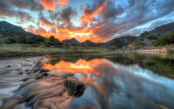 Фото обои пейзаж, закат, HDR, Malibu
