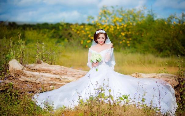 Фото обои лето, девушка, невеста