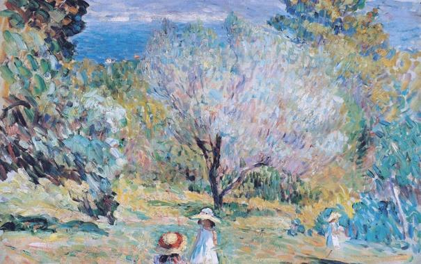 Фото обои пейзаж, горы, дети, краски, картина, Анри Лебаск, Girls in a Mediterranean Landscape