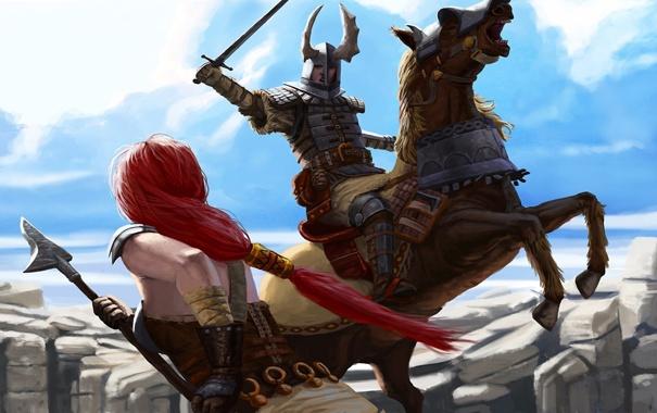 Фото обои девушка, оружие, скалы, конь, меч, воин, арт