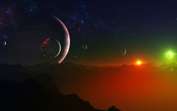 Фото обои планета, binary, галактики