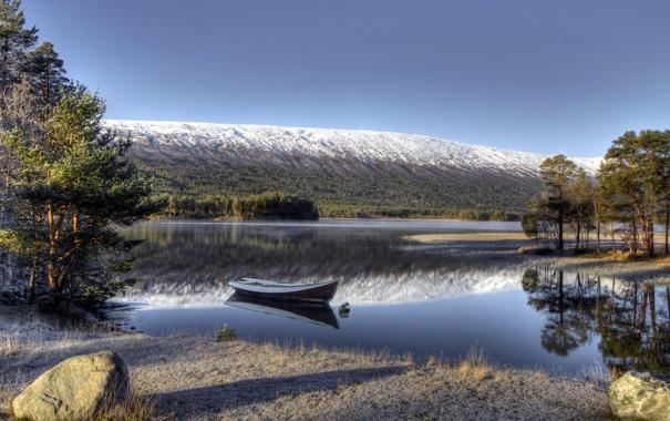 Фото обои горы, озеро, лодка