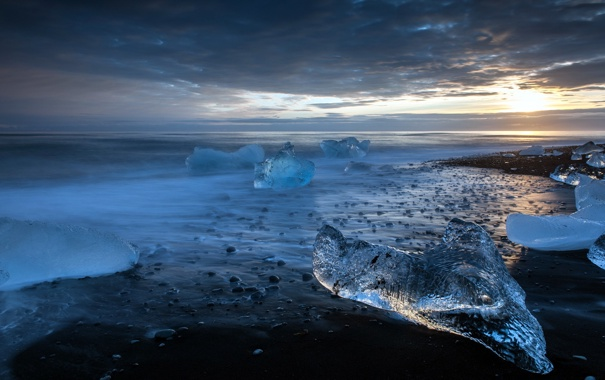 Фото обои закат, лёд, море