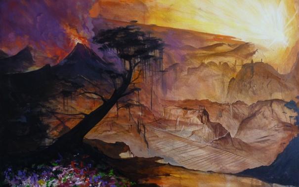 Фото обои солнце, цветы, горы, дерево, нарисованный пейзаж