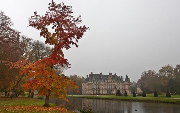 Фото обои осень, канал, франция, дворец, сергей доля, шато