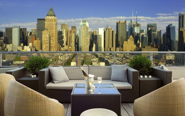 Фото обои город, вид, шампанское, мегаполис, терраса