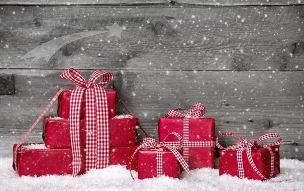 Фото обои зима, снег, ленты, подарки, красные, Christmas, праздники