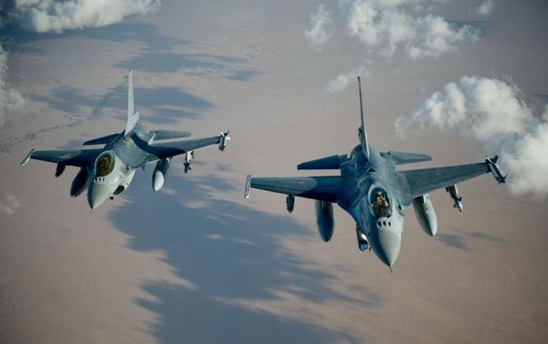 Фото обои полет, истребители, пара, Fighting Falcon, «Файтинг Фалкон», F-16A
