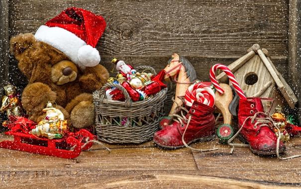 Фото обои звезды, снег, игрушки, сапоги, леденец, new year, hat