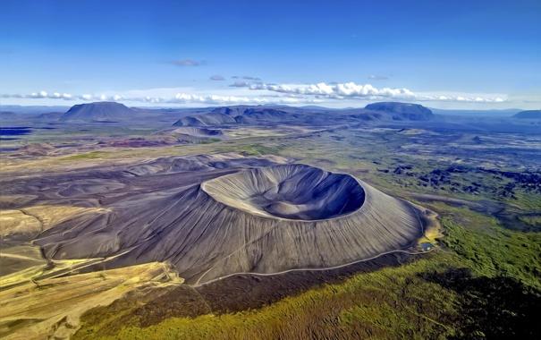 Фото обои обработка, кратер, исландия