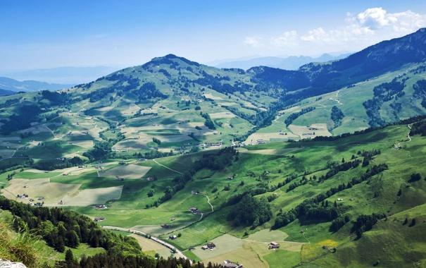 Фото обои зелень, лес, небо, пейзаж, горы, природа, долина