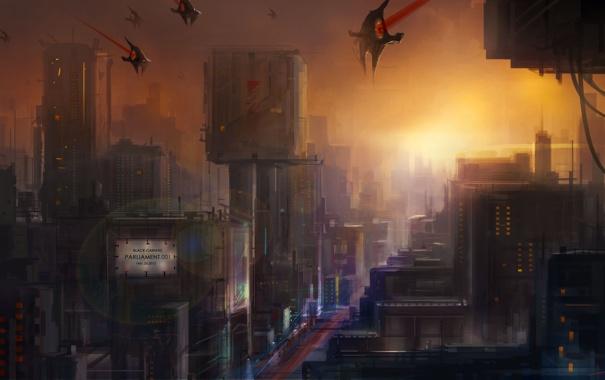Фото обои закат, город, будущее, транспорт, корабли, арт, cloudminedesign