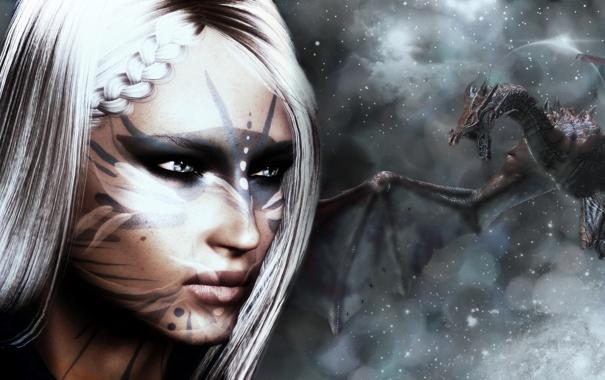 Фото обои зима, девушка, снег, дракон, игра, белые волосы, skyrim