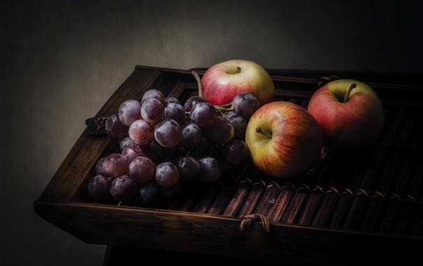 Фото обои яблоки, виноград, фрукты