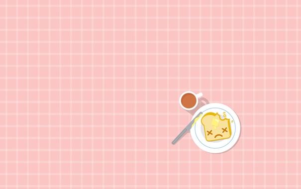 Фото обои масло, хлеб, нож, чашка, тост