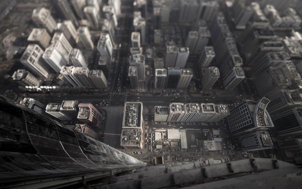 Фото обои полет, город, высота, дома, небоскребы, улицы, тилт шифт