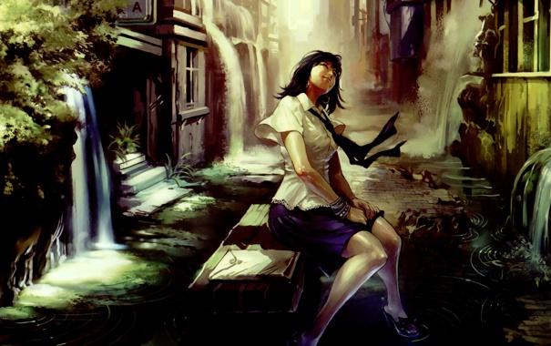 Фото обои вода, девушка, скамейка, город, улыбка, улица, водопад