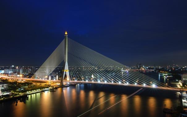Фото обои ночь, мост, город, ночные огни
