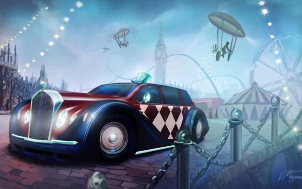 Фото обои машина, велосипед, город, цирк, аттракцион