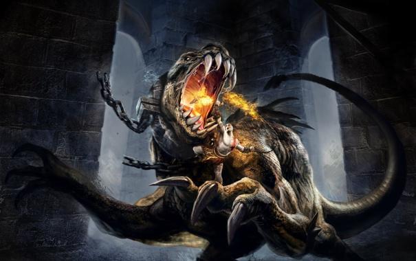 Фото обои огонь, монстр, когти, клыки, сражение, чудовище, цепи