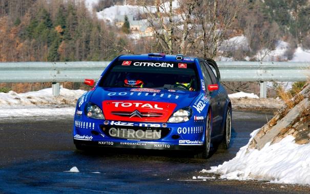 Фото обои Зима, Авто, Синий, Спорт, Citroen, Фары, WRC
