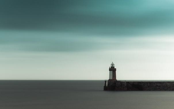 Фото обои небо, ла-манш, маяк, гладь, тучи, море