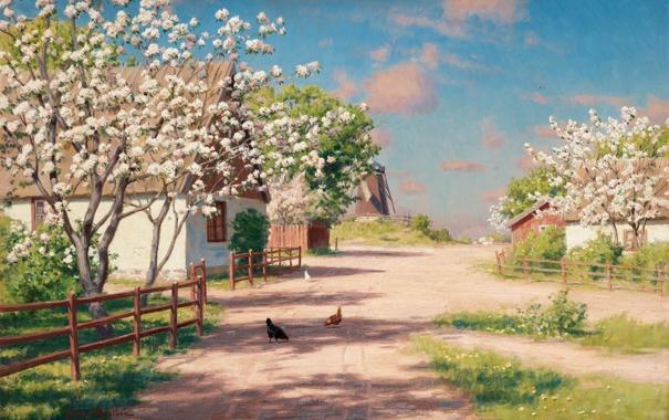 Фото обои весна, сад, домики, Швеция, цветение, Pickande höns på byväg, Johan Krouthén