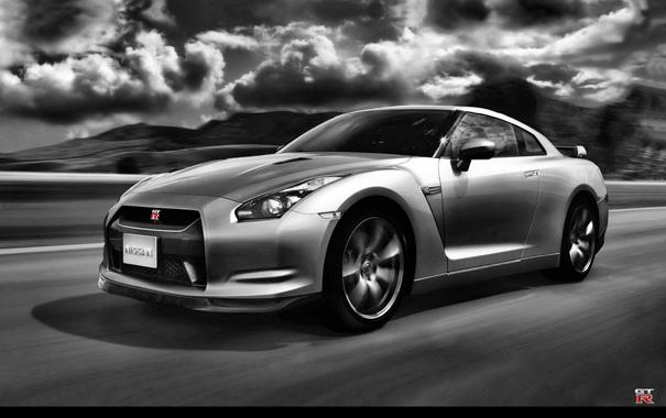 Фото обои GTR, Nissan, black and white