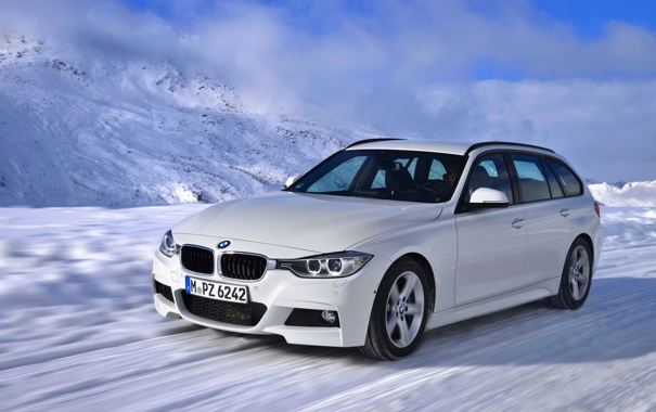 Фото обои Зима, Авто, Белый, Снег, BMW, Машина, В Движении