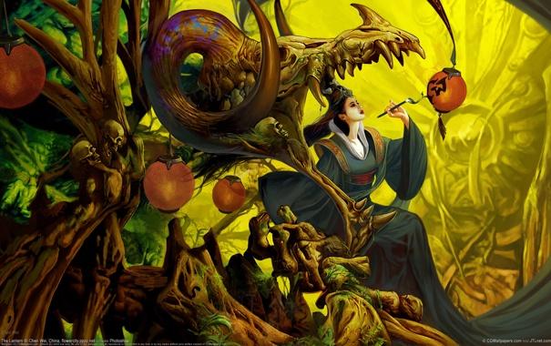 Фото обои девушка, дерево, череп, платье, арт, фонарь, символ