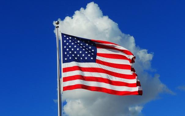 Фото обои сша, небо, флаг