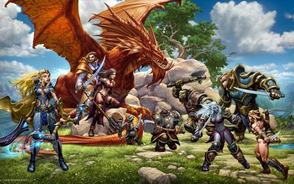 Фото обои фентези, дракон, эльф, игра, арт, перс, герои