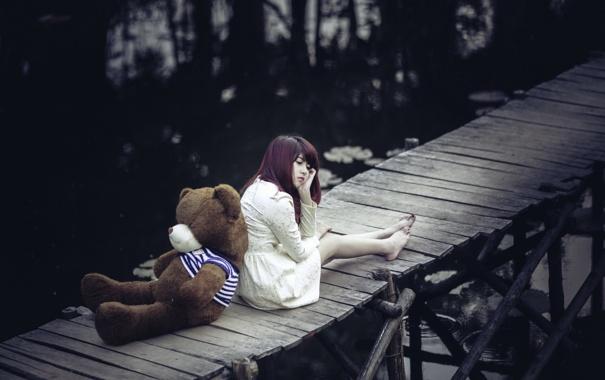 Фото обои девушка, мост, мишка