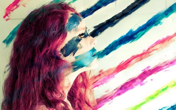 Фото обои девушка, краски, Blending