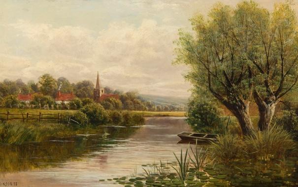 Фото обои небо, деревья, пейзаж, река, лодка, дома, картина