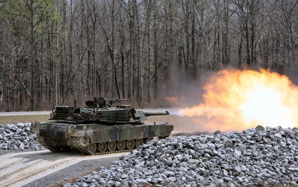 Фото обои Деревья, Огонь, Камни, США, Танк, M1A1, Tank