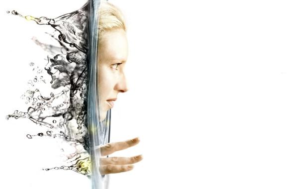 Фото обои белый, вода, лицо, фон, Fringe