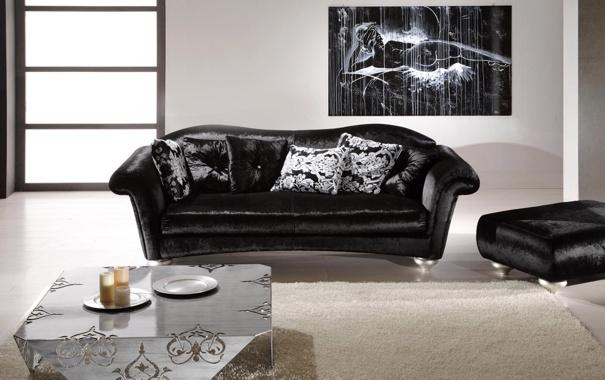 Фото обои черный, кресло, интерьер, диван, комната. квартира