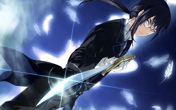 Фото обои меч, перья, арт, парень, g yuusuke, game cg, sousyu sensinkan-gakuen hachimyoujin
